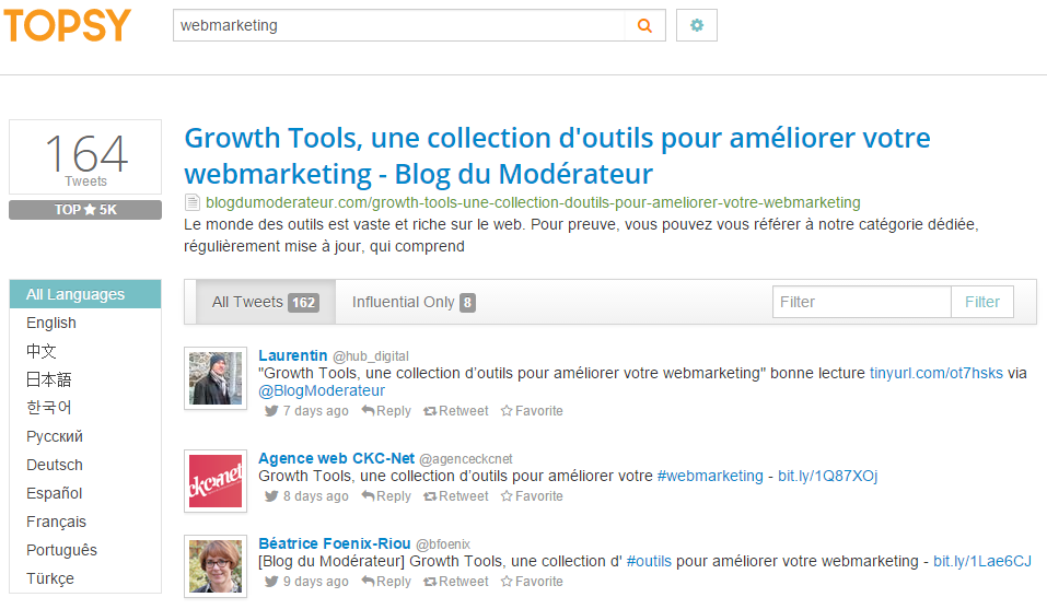 Topsy Identifier les contacts partage contenus